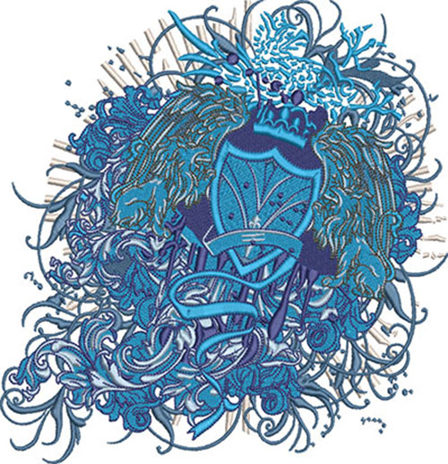 lion crest fashion embroidery design