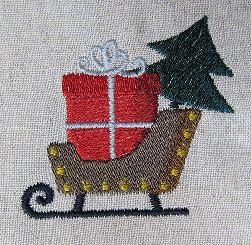 Cute Christmas Ornament Sled Embroidery Design