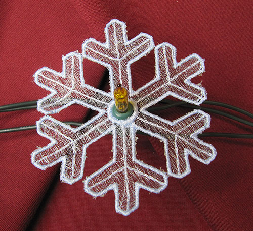 Christmas String Lights Snowflake 2 Embroidery Design