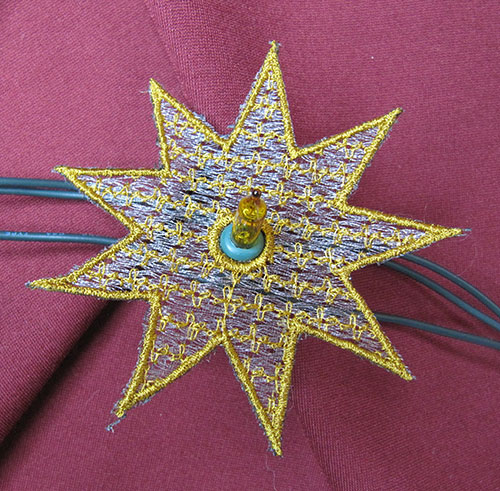 Christmas String Lights Star 3 Embroidery Design