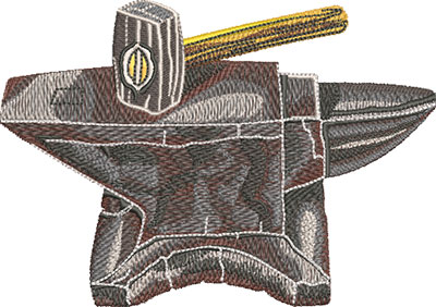 Anvil and Hammer Embroidery Design