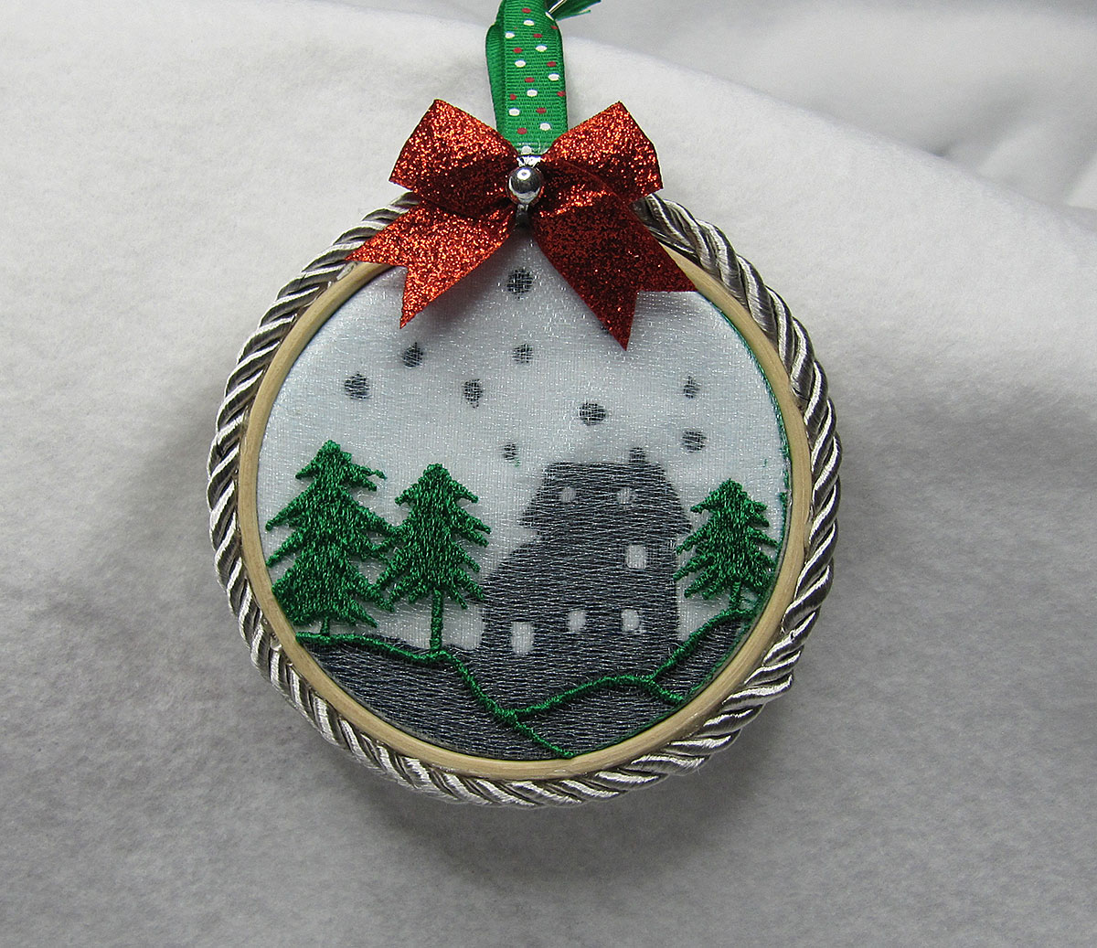Christmas Dimension Ornament Trees with House Embroidery Design
