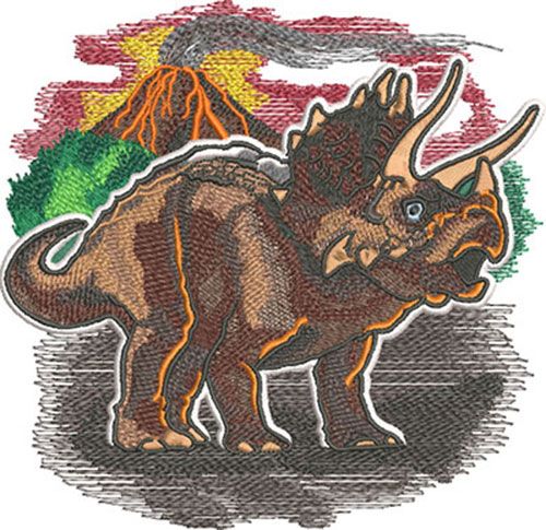 triceratops volcano embroidery design