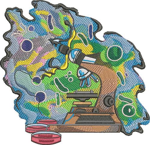 science microscope embroidery design