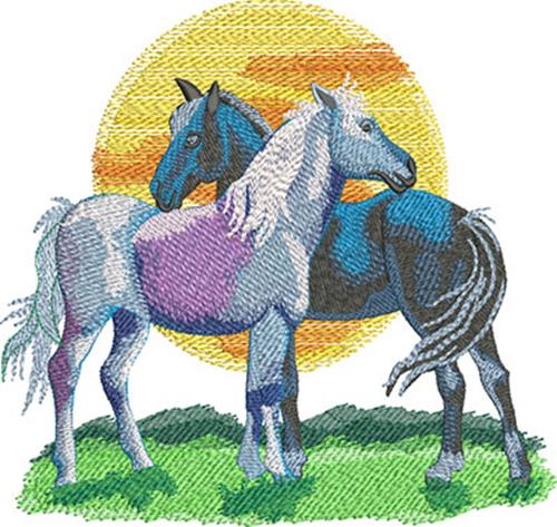 horse romance embroidery design