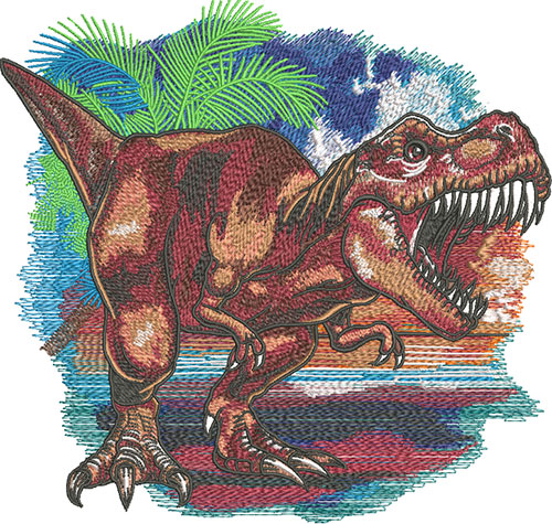 roaring t-rex embroidery design