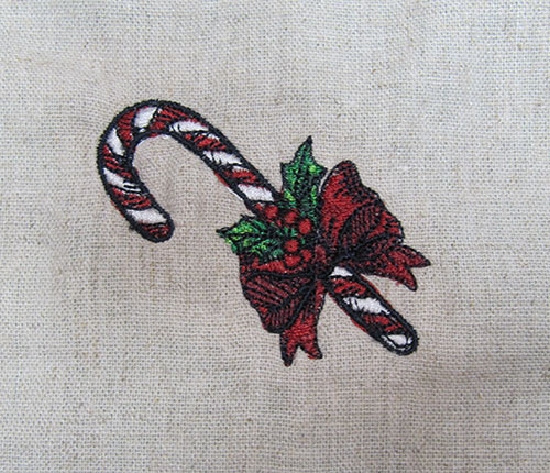 Vintage Christmas CandyCane Embroidery Design
