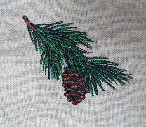 Pine cone vintage embroidery design