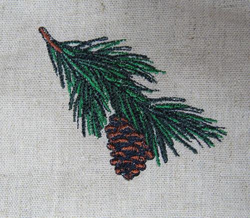 Pine cone vintage embroidery design
