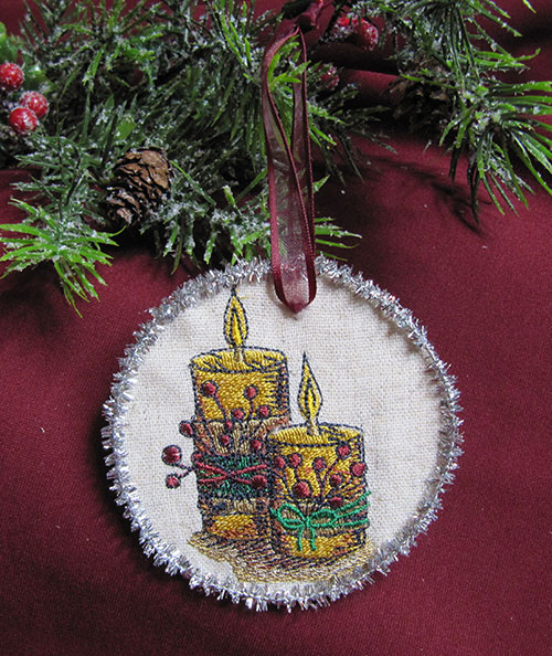 Vintage Christmas Candles Embroidery Design