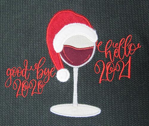 Christmas Wine Hello Embroidery Design