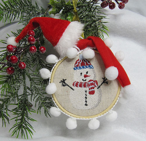 Cute Christmas Snowman Ornament Embroidery