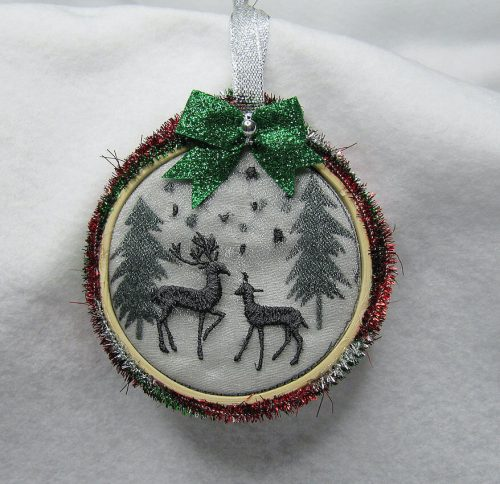 dimensional ornament embroidery deers