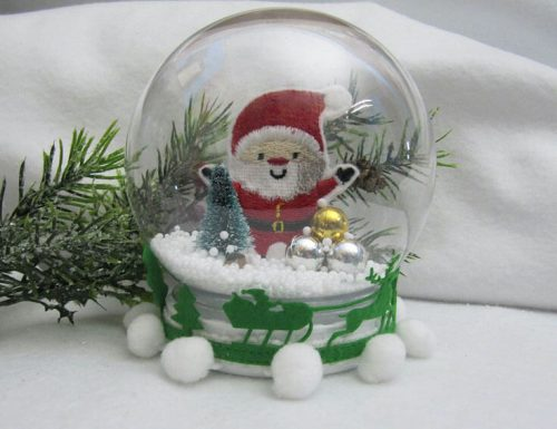 embroidered santa snowglobe