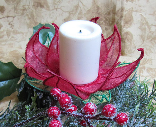 Poinsettia tealight embroidery design