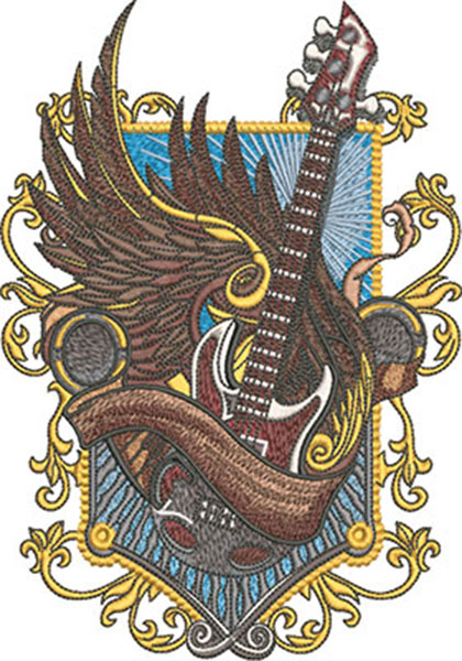 winged guitar crest embroidery design
