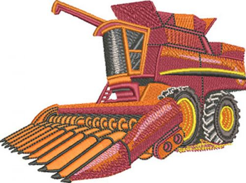 combine harvester embroidery design