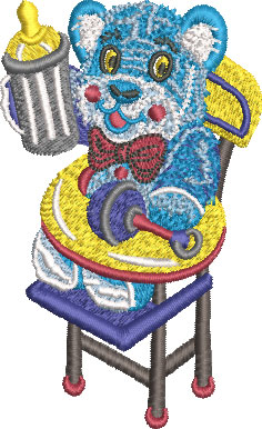 Teddy Bear High Chair Embroidery Design