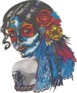 sugar girl face embroidery design
