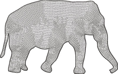 elephant outline embroidery design
