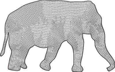 elephant outline embroidery design