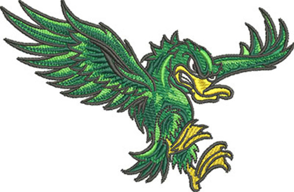 fighting duck embroidery design