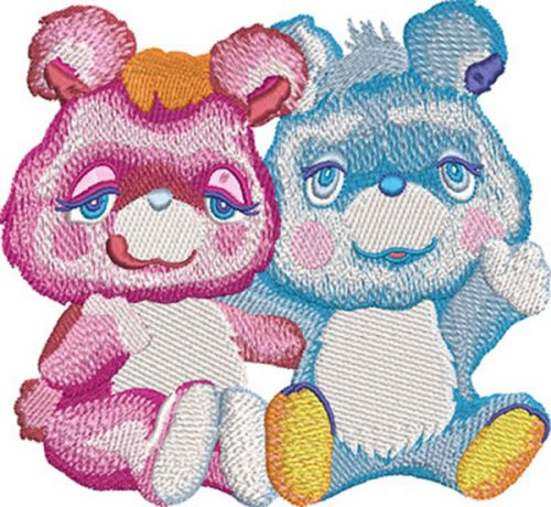 watercolor bear couple embroidery design