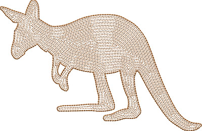kangaroo outline embroidery design