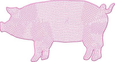 pig outline embroidery design