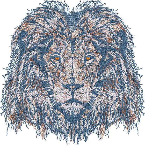majestic lion embroidery design