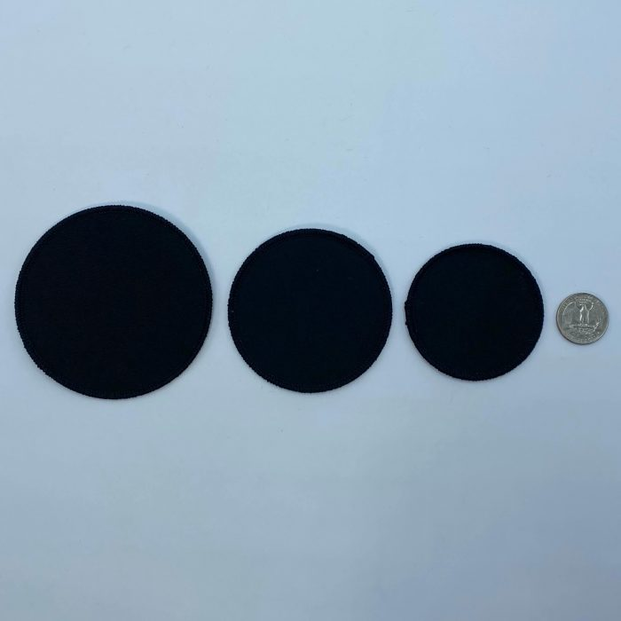 Circle black embroidery patches 3 sizes