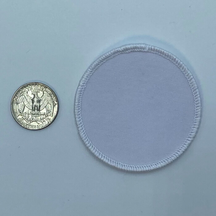 Circle white 2.5 inch embroidery patch