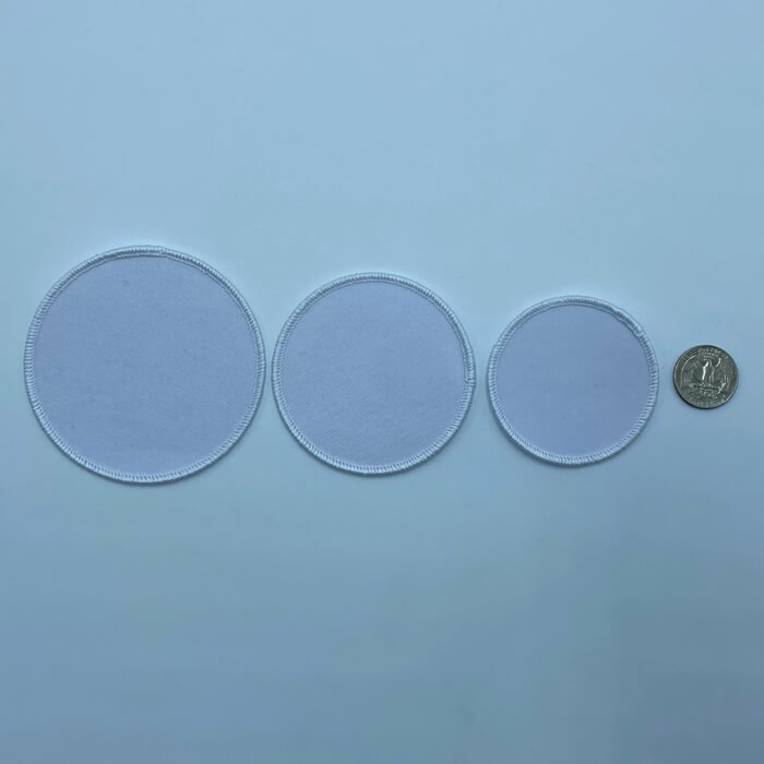 Circle white 3 sizes embroidery patches