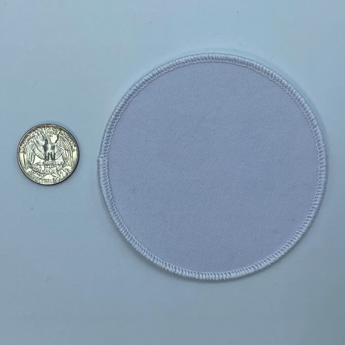 Circle white 3.5 inch embroidery patch