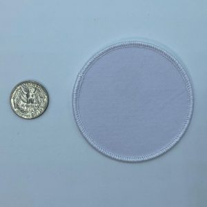 Circle white 3 inch embroidery patch