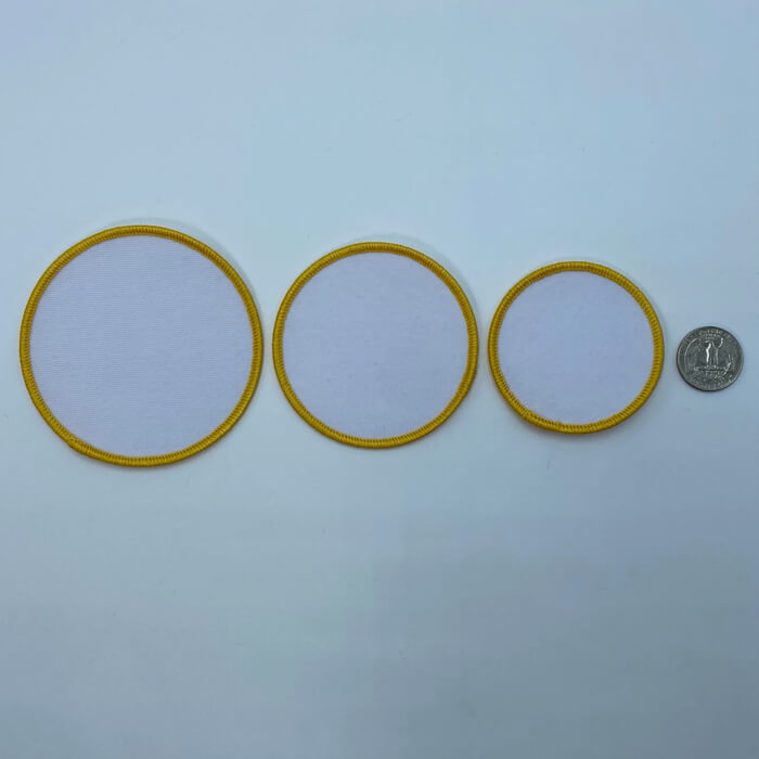 Circle yellow embroidery patches 3 sizes