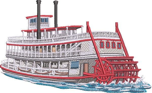 river boat embroidery design