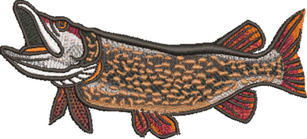 pike swimming embroidery design