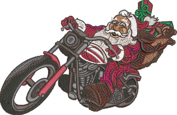 wheelie santa embroidery design