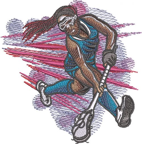 girl lacrosse scoop embroidery design