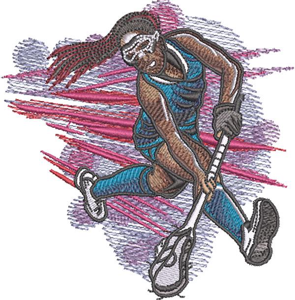 girl lacrosse scoop embroidery design