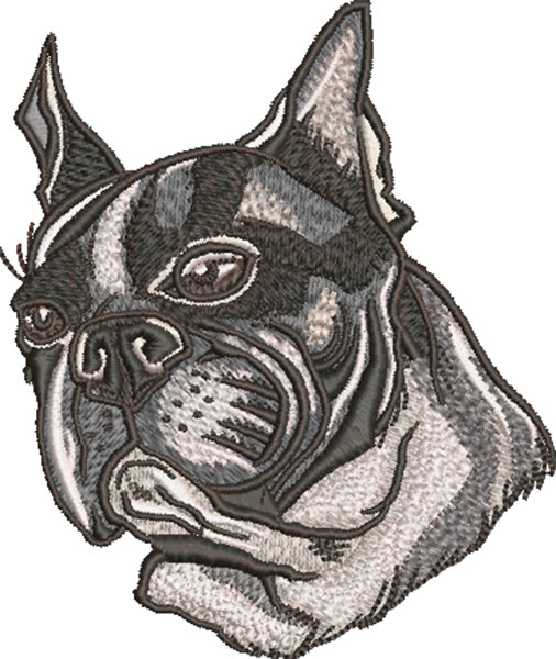Boston Terrier head embroidery design