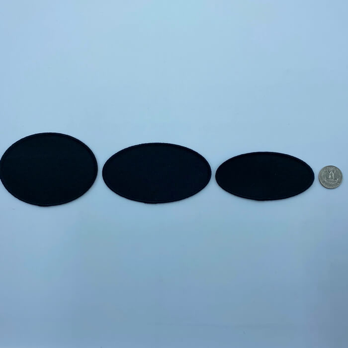 Oval black embroidery patches in 3 sizes