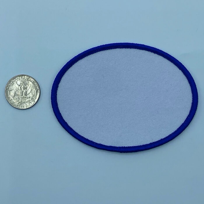 Oval blue 2.5 3 inch embroidery patch