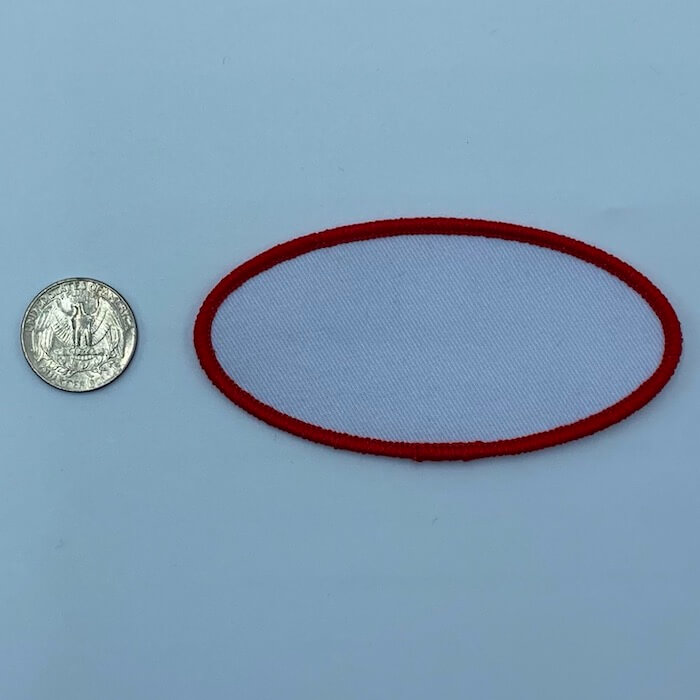 Oval red 3.5 3 inch embroidery patch