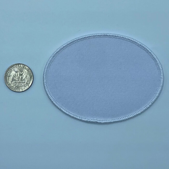 Oval white 2.5 3 inch embroidery patch