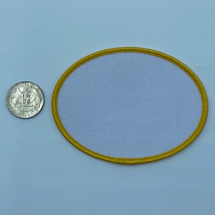 Oval yellow 2.5 3 inch embroidery patch