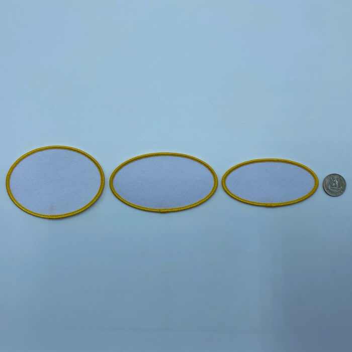 Oval yellow embroidery patches in 3 sizes
