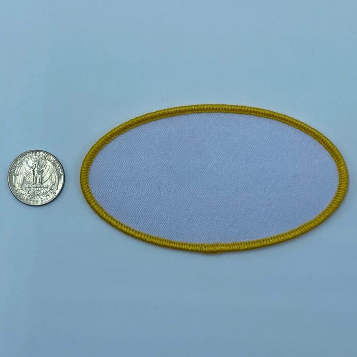Oval yellow 3 inch embroidery patch