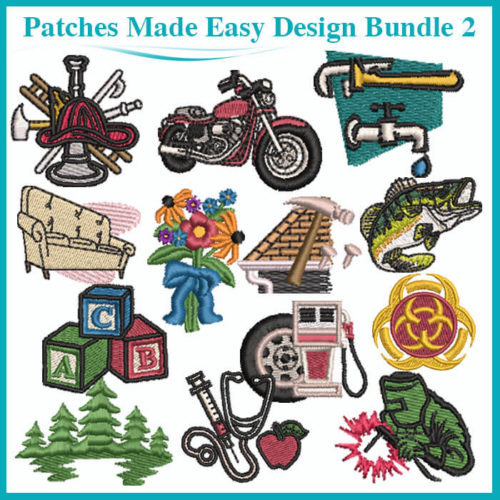 Embroidery Patches Made Easy Design Bundle 2